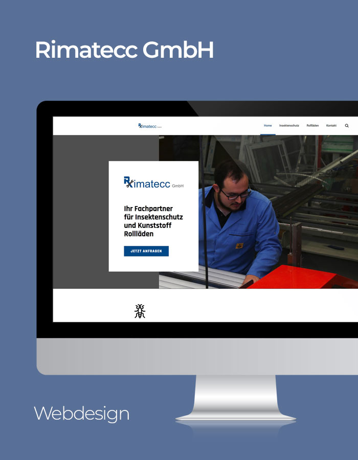 Rimatecc Website Referenz mit blauem Hintergrund
