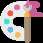 Pinsel mit einer Farbpalette