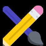 Stift und Pinsel gekreuzt