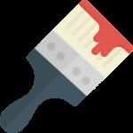 ein Pinsel mit roter Farbe