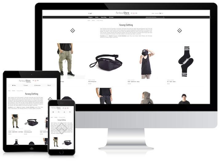 Referenz von der ParkourStore Website auf Tablet, Handy und PC