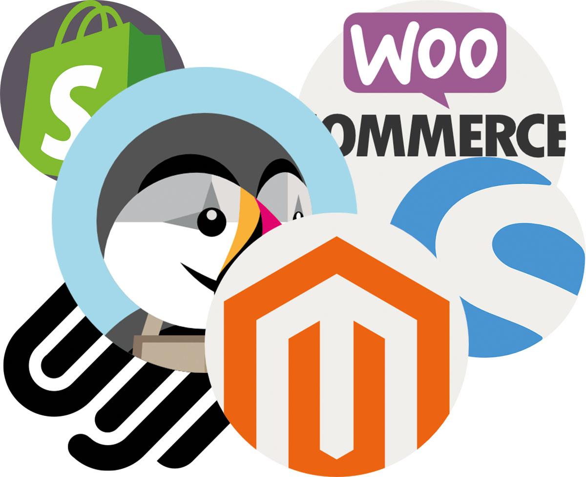 Verschiedene Shopsystemanbieter Logos