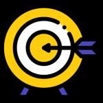 Zielscheibe mit einem Pfeil Icon