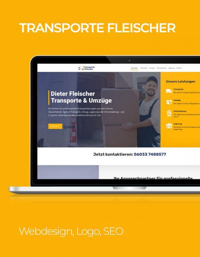 Transporte Fleischer Website Referenz mit gelbem Hintergrund