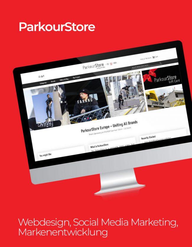 Parkourstore Referenz mit rotem Hintergrund