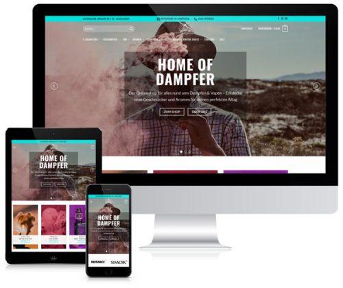 Referenz von der Home of Dampfer Website auf Tablet, Handy und PC