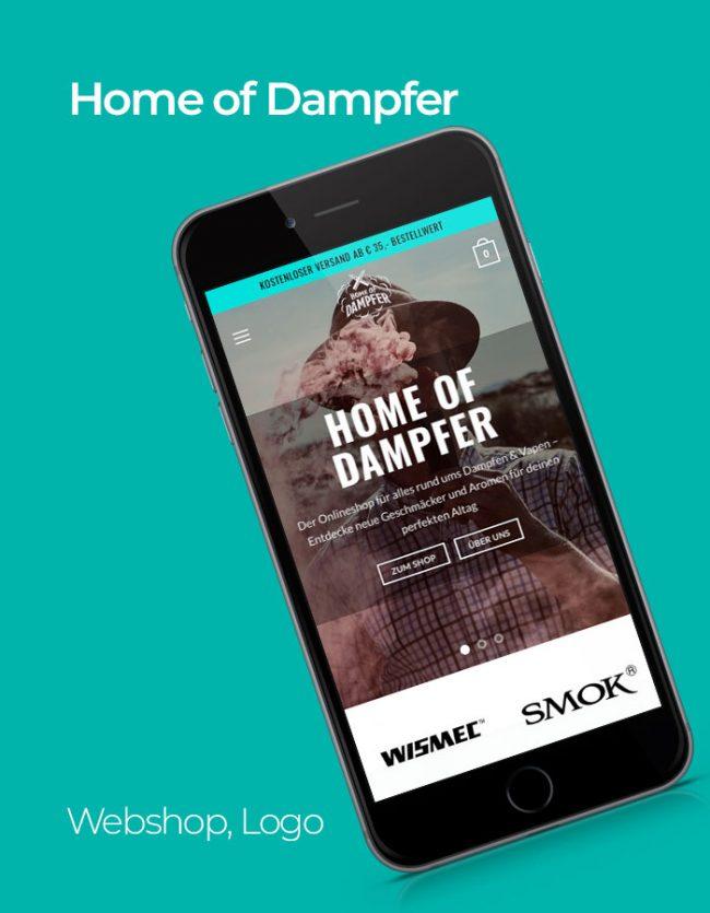 Home of Dampfer Website Referenz mit türkisem Hintergrund